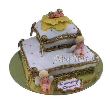 Торт на крестины на подушках