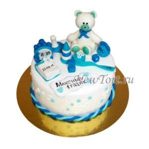 Торт с мишкой и метрикой мальчику