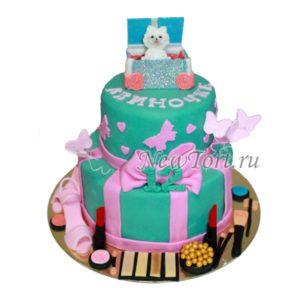 Торт с косметикой и собачкой