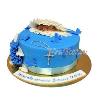 Торт на крещения с лентой