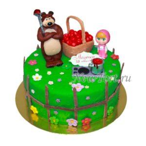Торт Маша и медведь с корзинкой