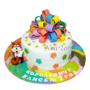 Торт с разноцветным бантом и лисенком
