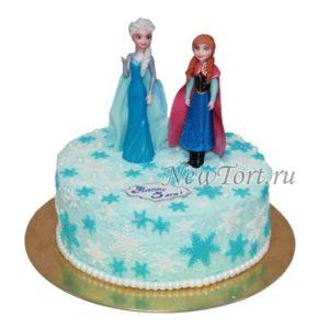 Торт с фигурками Анны и Эльзы