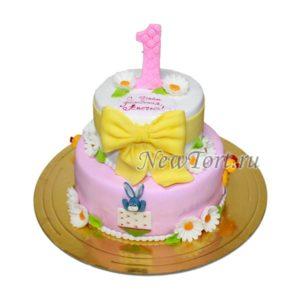 Торт с ромашками на годик