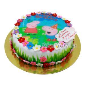 торт Пепа и Джорж с травой и цветами