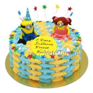Торт парочка миньонов для двойняшек