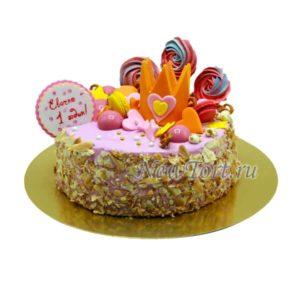 Торт без мастики с короной и безе