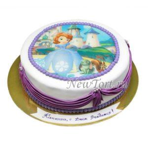 торт Принцесса София с рюшками