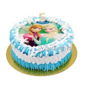 Торт Холодное сердце в голубых сливках