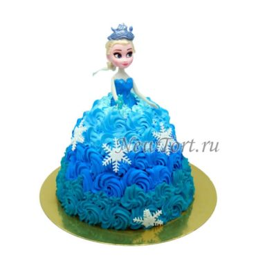 Торт кукла Эльза без мастики