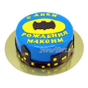 Логотип Бэтмена на синем торте