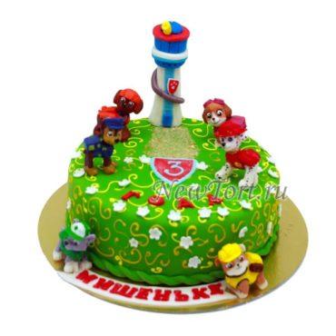 Торт щенки и башня