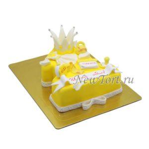 Торт Желтая единичка с короной