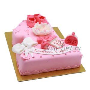 Торт Розовая единичка с цветком