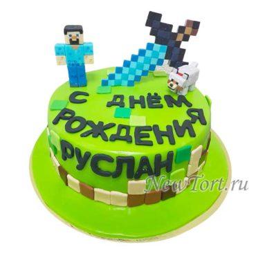 Круглый торт майнкрафт с мечом
