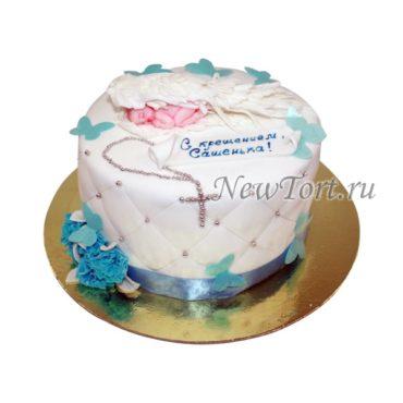 Белый торт на крестины