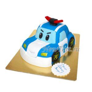 Торт машинка Поли Робокар