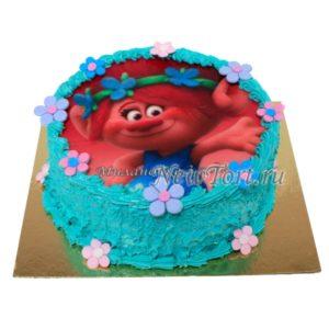 Розочка на бирюзовом торте