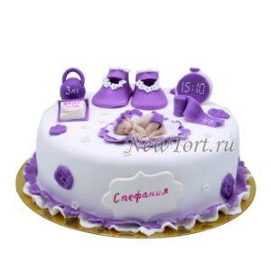 Торт сиреневый на годик