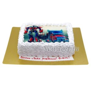 Торт с фотографией Оптимус Прайм