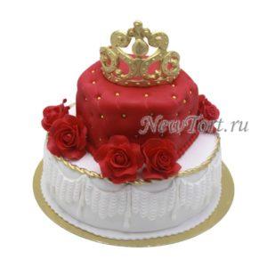 Торт корона с красными розами