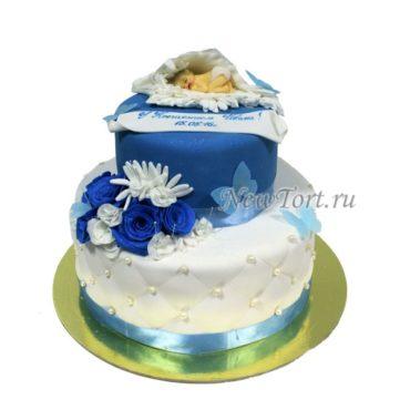 Торт на крестины из мастики