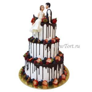 Трёхъярусный свадебный торт СТ159