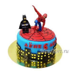 Торт человек паук и лего бэтмен