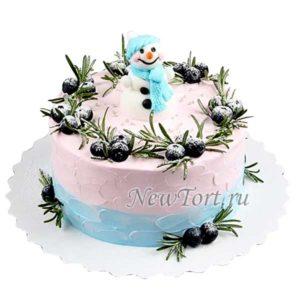 Новогодний торт со снеговиком