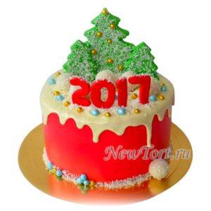 Новогодний торт с елкой