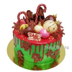 Торт новогодние шары