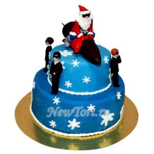 Новогодний торт дед мороз на ракете