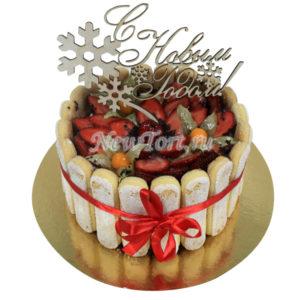 Новогодний торт с фруктами