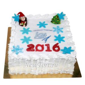 Новогодний торт со снежинками и елкой