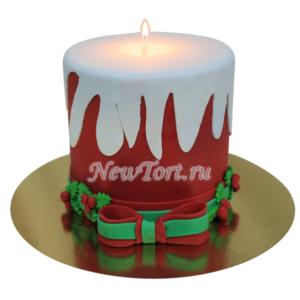 Новогодний торт со свечой