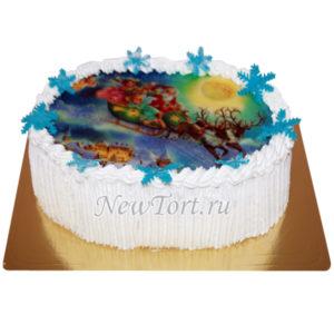 Новогодний торт упряжка дед мороза
