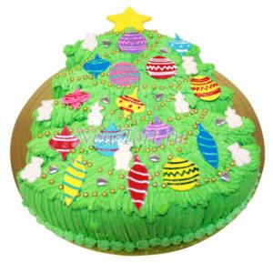 Новогодний торт в виде елки с игрушками