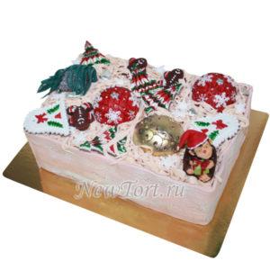 Новогодний торт в виде елочных игрушек