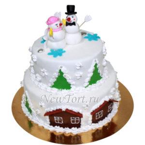 новогодний торт с снеговиками
