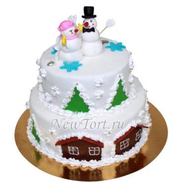 новогодний торт со снеговиками