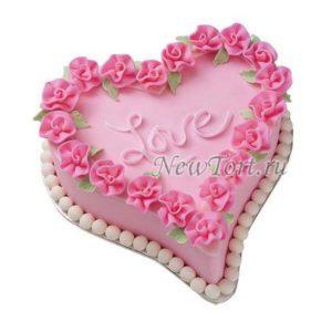 Торт розовое сердечко
