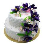 Большой торт с цветами на 8 марта
