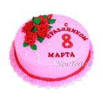 Торт с розами из мастики на 8 марта