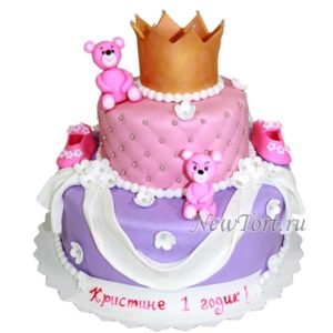 Торт с мишками и короной