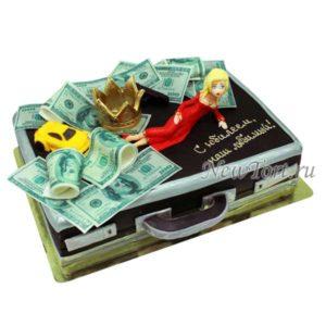 Торт дипломат с баксами и корона