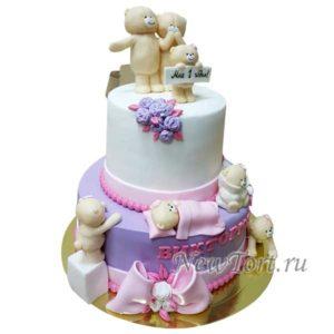 Большой торт с мишками на годик