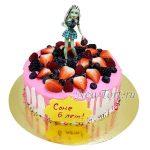 Торт кукла Монстр Хай  с ягодами