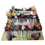 Двухярусный торт с ягодами и логотипом