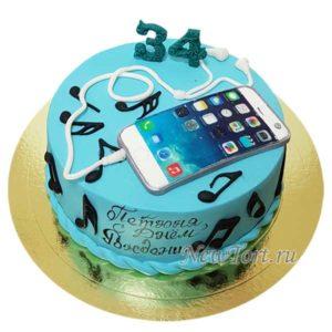 Торт айфон с наушниками