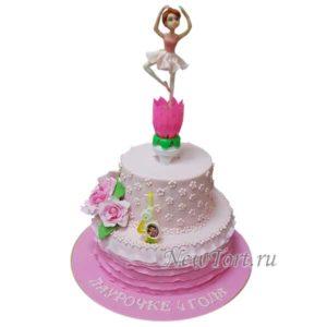 Торт с балериной два яруса